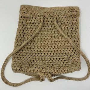The Sak Woven Crochet Drawstring Backpack Bag